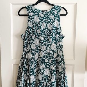 NWT H&M Green Patterned Skater Dress Size 12